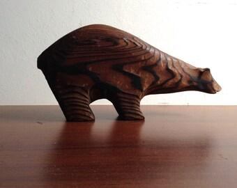 Wood Bear figure. Vintage  Modernist. Mod, Mid century, Danish Modern, Eames, era.