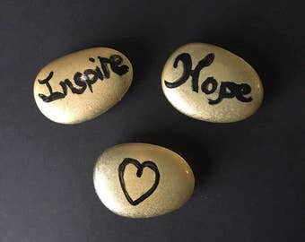 Glass Stone Inspirational Magnets-Set of 3 Gold