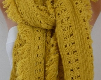 ON SALE --- Mustard Knitted Lace Scarf,Christmas Gift Winter Accessories, Shawl Cowl Scarf Bridal Gift Ideas For Her Women's Fashion Accesso