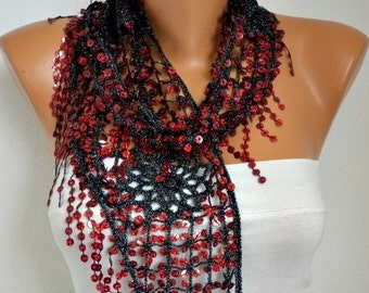 ON SALE --- ON Sale - Sequin Scarf -Floral - Women Shawl Scarf - Bellydance - Cowl Scarf Lace Scarf Gift For Her Women's Fashion Accessories