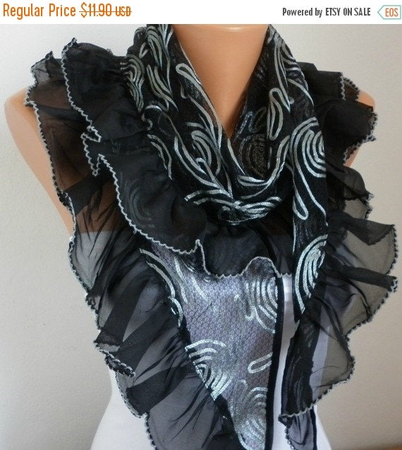 ON SALE --- Black Scarf Wedding Shawl Cowl Scarf Lace Scarf Bridal Accessories bridesmaid gift Gift Ideas For Her Women Fashion Accessories