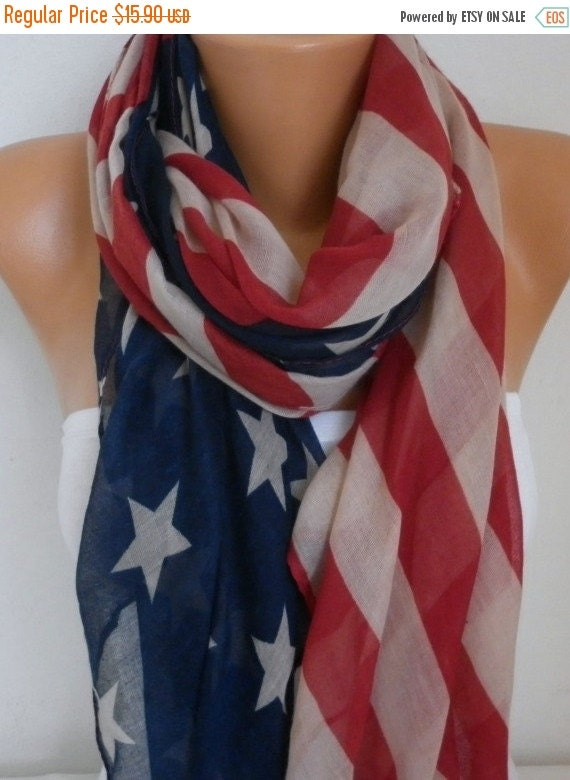 ON SALE --- American Flag Scarf American Scarf Cotton Star Scarf Patriotic Scarf July 4th Scarf Memorial Day Gift Ideas Soft Red Blue
