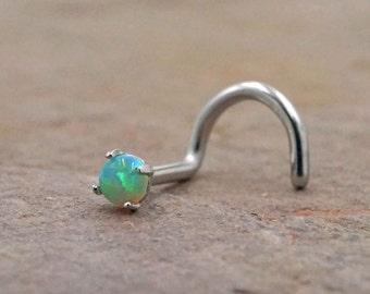 Green Opal Nose Screw Fire Opal Nose Ring Nose Piercing