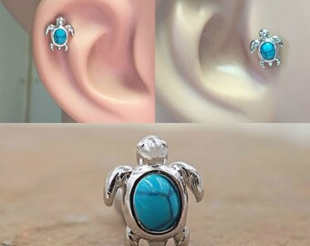 16g Turtle Cartilage Earring or Tragus Piercing Turquoise Shell