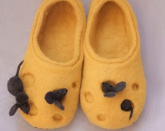 Felt slippers, wool slippers, home slippers, mouse