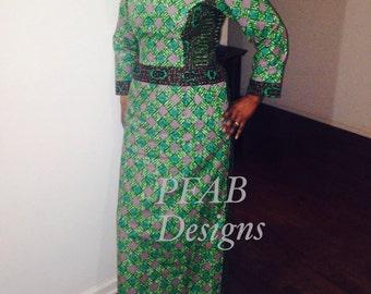 Handmade Ankara Long Dress, Dress,African Clothing,Crafts,Vlisco Fabric, Maci Fitted Dress Size US 8/10