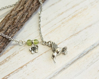 Silver Hummingbird with Cherry Blossom Necklace... Personalize the Tiny Birthstone Accents