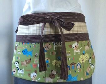 Teacher Apron Utility Apron Vendor Apron dog fabric green brown blue tan