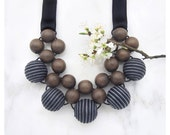 Wooden Necklace / Unique Wooden Bead Necklace / Grey Wood Stripy Fabric Beads with Ribbon Ties / Bib Necklace / Statement Necklace