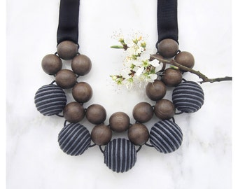 Unique Wooden Bead Necklace / Wooden Necklace / Grey Wood Stripy Fabric Beads / Bib Necklace / Statement Necklace / Chunky Wooden Necklace