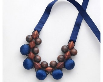 Wooden Necklace / Wooden Bead Necklace / Bayong, Ebony and Blue Fabric Bead Necklace / Unique Wood Necklace / Adjustable Necklace