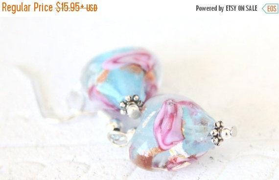 Glass Heart Earrings/Valentine's Day Gifts for Her/Valentine's Earrings/Heart Earrings/.925 Sterling Silver Earrings/Sensitive Ears Earring
