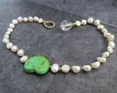 Pearl and turquoise seashell anklet