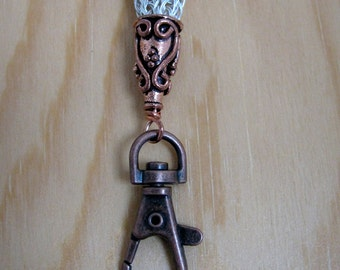 Lanyard - Break-away,  2-Wire Viking Knit, Silver with Copper Components (L-331)