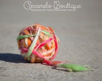 Autumn Shades Handspun Thick and Thin Yarn-HandDyed Super Bulky Yarn-Hand Spinning Bulky Yarn-Hand Dyed Thick and Thin Yarn Art