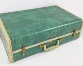 Jade green vintage suitcase, vintage suitcase  luggage, vintage samsonite suitcase