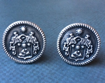 Sterling Silver Personalized Cufflinks Family Crest Coat of Arms Cuff Links - personalized with your family crest