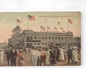 "New Jersey, Vintage Postcard, ""Boardwalk and Natatorium, Asbury Park, N.J.,""  1919, #1055."