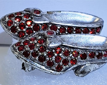 Kirks Folly Original/Vintage Ruby Crystal Slippers Silver Tone  Go Ask Alice