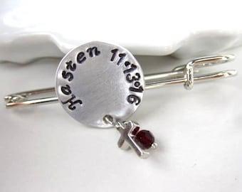 Baptism brooch, Personalized brooch, Birthstone, Birthday gift, Silver brooch
