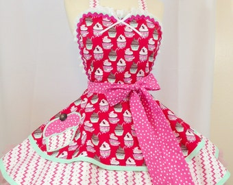 Sugar Rush Cupcake Pinup Apron -Ready To Ship/Holiday Apron, Woman's Apron