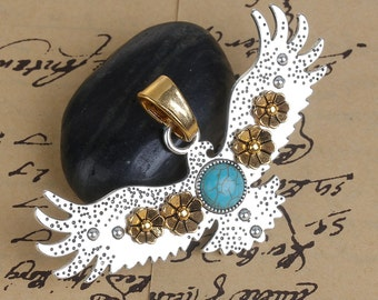 """EAGLE Pendant, SILVER with gold flowers and turquoise blue cabochon, textured metal, 3.25"""", chs2675"""