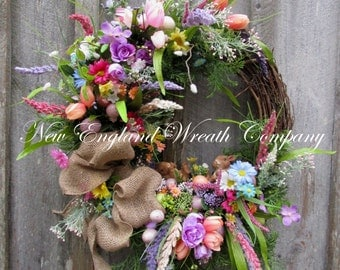 Easter Wreath, Easter Bunny Wreath, Spring Wreath, Spring Floral Wreath, Whimsical Easter Wreath, Country Cottage Wreath, Designer Wreath