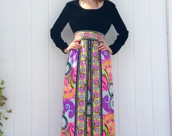 1960's Velvet Psychedelic Womens Party Maxi Dress