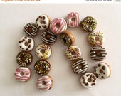 CLEARANCE Glass Donut Beads DO NOT Eat Brown Pink White Tan Beads 10 Beads 1/2""
