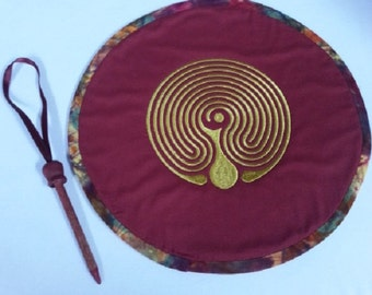 Reversible Fabric Finger Labyrinth; Baltic Labyrinth, Meditation, Contemplation, Altar Decoration,  Candle Mat