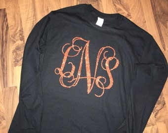Glitter Monogrammed Long Sleeve Shirt - Pick your colors