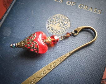 Fire Fairy Red Heart Grimoire Bookmark for Wicca Pagan Witches