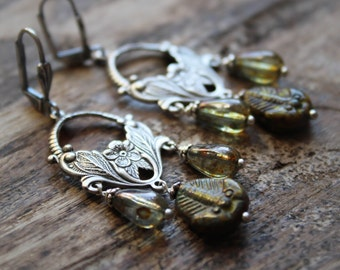 Chandelier Earrings from the Wonder Cabinet. Glass Fossils and Czech Glass Statement Earrings.