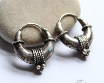 Vintage Tribal Puffy Hoops from Bali in Silver