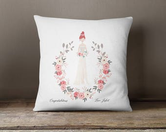 Square Pillow Bride Portrait Printed with personalised message