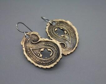 Bronze Earring, Paisley Earrings, Mixed Metal Jewelry, Statement Earrings, Unique Earrings, Funky Earrings, Paisley, Asymmetrical Earrings