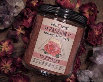 Bath Salts PASSION Romantic Himalayan Salt Mandarin + Rose - 10oz Gift for Her