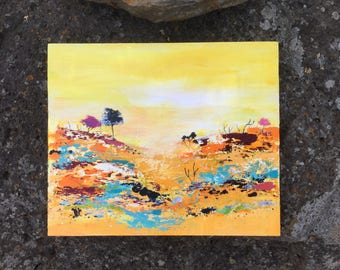 abstract landscape, australian bush, small painting, original art, wood panel