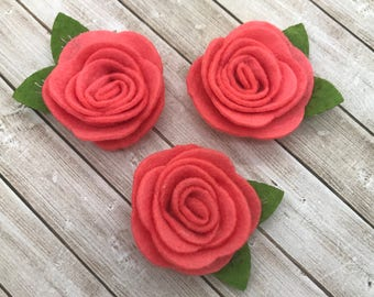 "2"" felt rosette with leaf, CORAL, felt rose flower,small felt flowers, DIY headband supplies, petite fabric flowers, wholesale flowers"