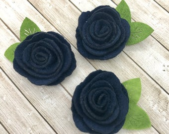 "2"" felt rosette with leaf, Navy blue, felt rose flower, small felt flowers, DIY headband supplies, petite fabric flowers, wholesale flowers"