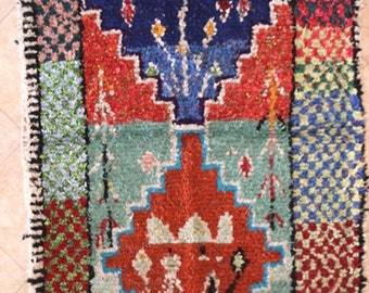 "210X125 CM (6' 10"" X 4' 1"" )  T30149 boucherouite , boucharouette,  moroccan rugs , berber rugs, morocco carpets"