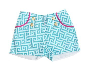 "Little Girls ""Sailor Shorts""  Aqua/Pink/White with Gold Buttons ~ Sizes 12mo- 6 years"