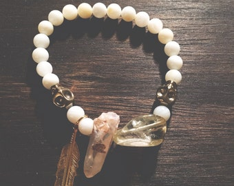 The Wanderer Bracelet // White Shell + Dusty Peach Quartz // Jewelry // XS~S