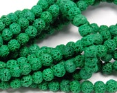6mm Kelly Green Lava Rock Round Stone Beads -15.5 inch strand