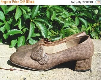 SALE Vintage 60's Snakeskin Shoes Heeled Shoes US8.5