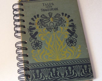 1878 TALES FROM SHAKESPEARE Handmade Journal Vintage Upcycled Book Vintage Shakespeare Diary