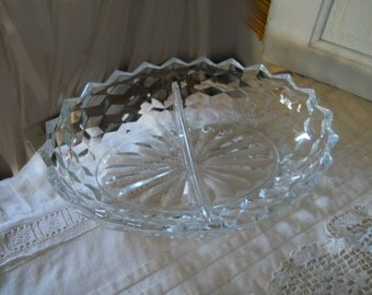 Vintage Thick Glass Divided Dish Double Serving Dish Very Old Thick Pressed Glass Vintage Serving Dishes