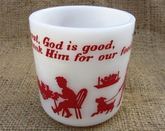 Anchor Hocking Milk Glass Cup Childs Blessing White Red 1960s