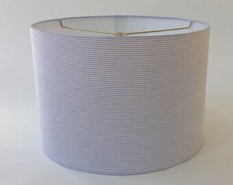 """Light Blue Seersucker Lamp Shade 14"""" Diameter X 11"""" Tall - Ready to Ship"""