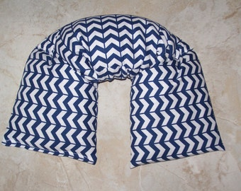 Neck & Shoulder Wrap  Pillow, Flax seed pillow -  Heating Pad Ice Pack-Flax seed therapy pillow - Mini Blue Chevron